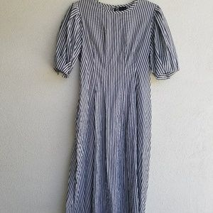 Long grey and white striped dress